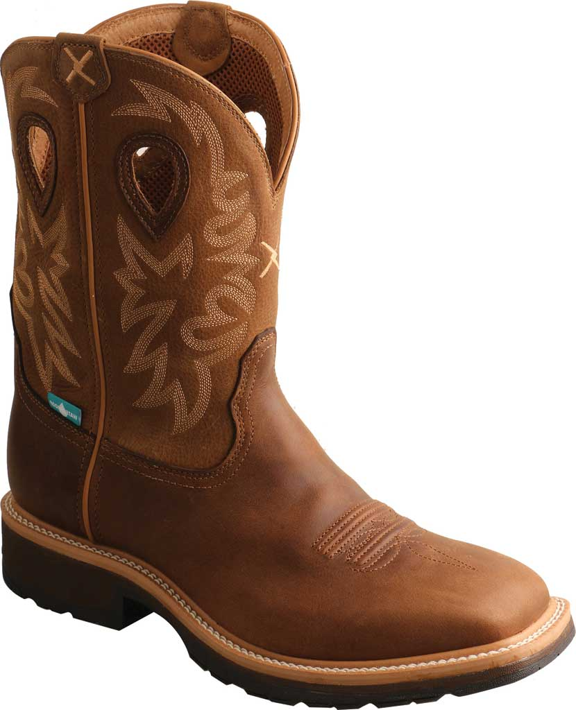 Men's Twisted X MCWW002 Cowboy Work Boot, Brown/Light Brown Leather, large, image 1