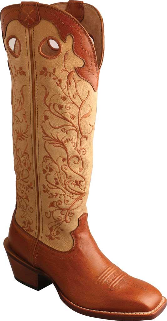 "Women's Twisted X WBKL008 16"" Buckaroo Knee High Cowgirl Boot, Saddle/Hazel Full Grain Leather, large, image 1"