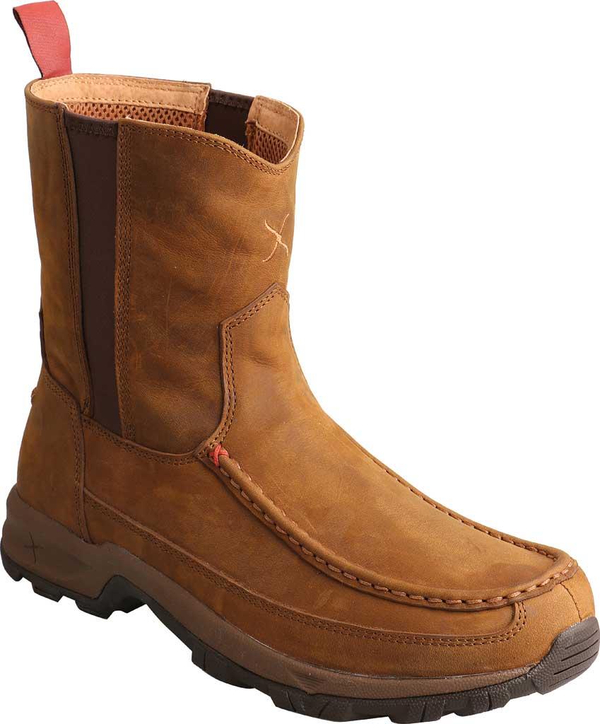 "Men's Twisted X MHKB003 8"" Moc Toe Pull On Hiker Boot, Distressed Saddle Full Grain Leather, large, image 1"