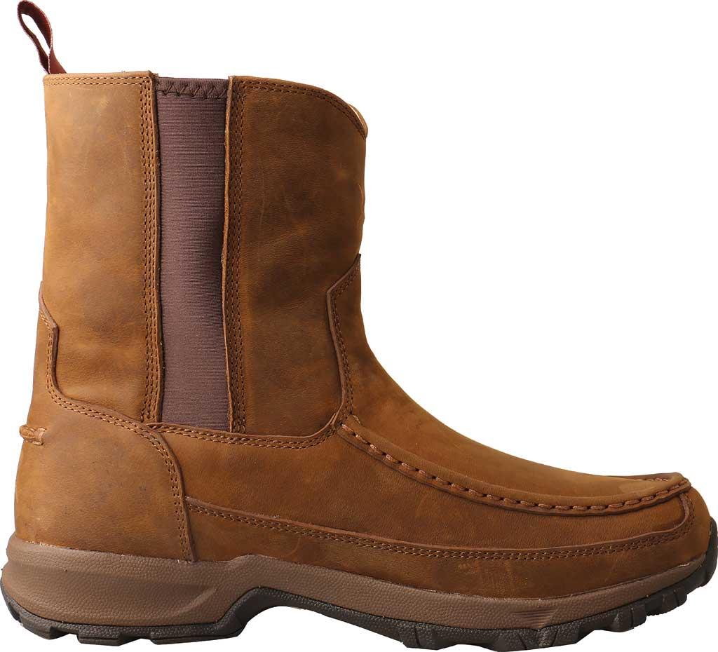 "Men's Twisted X MHKB003 8"" Moc Toe Pull On Hiker Boot, Distressed Saddle Full Grain Leather, large, image 2"