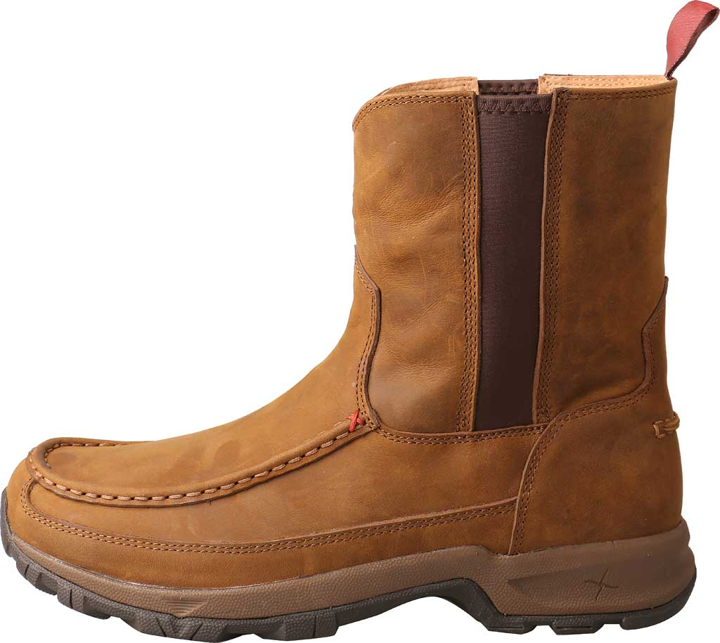 "Men's Twisted X MHKB003 8"" Moc Toe Pull On Hiker Boot, Distressed Saddle Full Grain Leather, large, image 3"