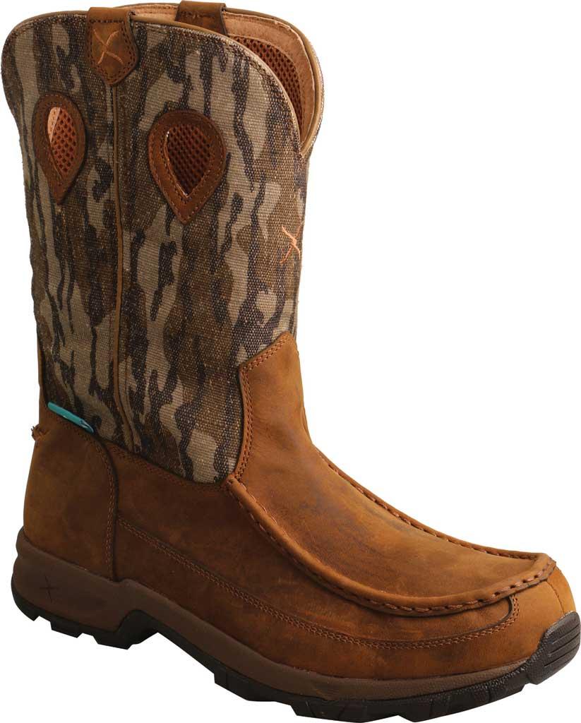 "Men's Twisted X MHKBW02 Mossy Oak 11"" Pull On WP Hiker Cowboy Boot, Distressed Saddle/Camo Eco Tweed, large, image 1"