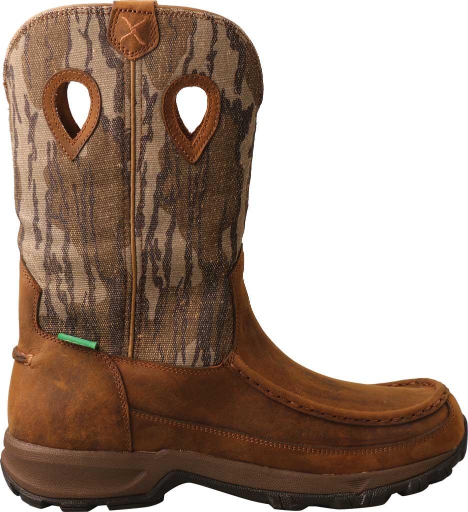 "Men's Twisted X MHKBW02 Mossy Oak 11"" Pull On WP Hiker Cowboy Boot, Distressed Saddle/Camo Eco Tweed, large, image 2"