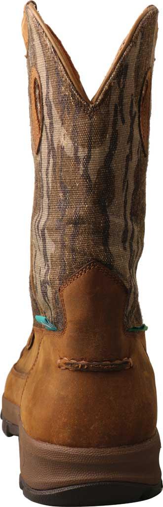 "Men's Twisted X MHKBW02 Mossy Oak 11"" Pull On WP Hiker Cowboy Boot, Distressed Saddle/Camo Eco Tweed, large, image 4"