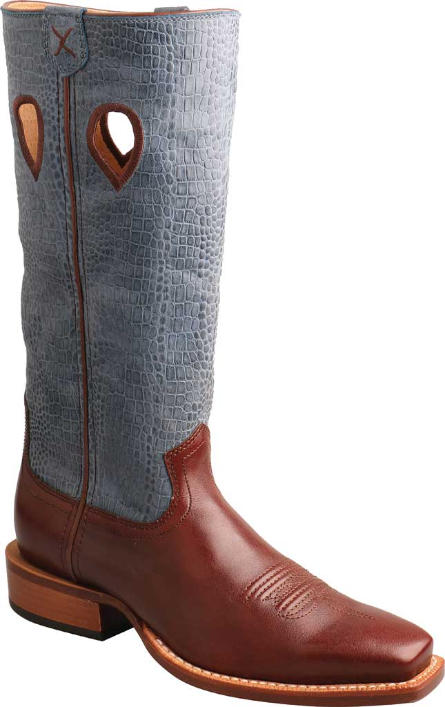 """Women's Twisted X WRSL006 13"""" Ruff Stock Work Cowgirl Boot, Cafe/Sky Blue Full Grain Leather, large, image 1"""