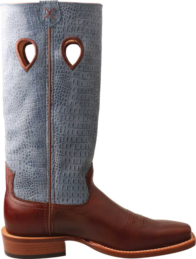 """Women's Twisted X WRSL006 13"""" Ruff Stock Work Cowgirl Boot, Cafe/Sky Blue Full Grain Leather, large, image 2"""