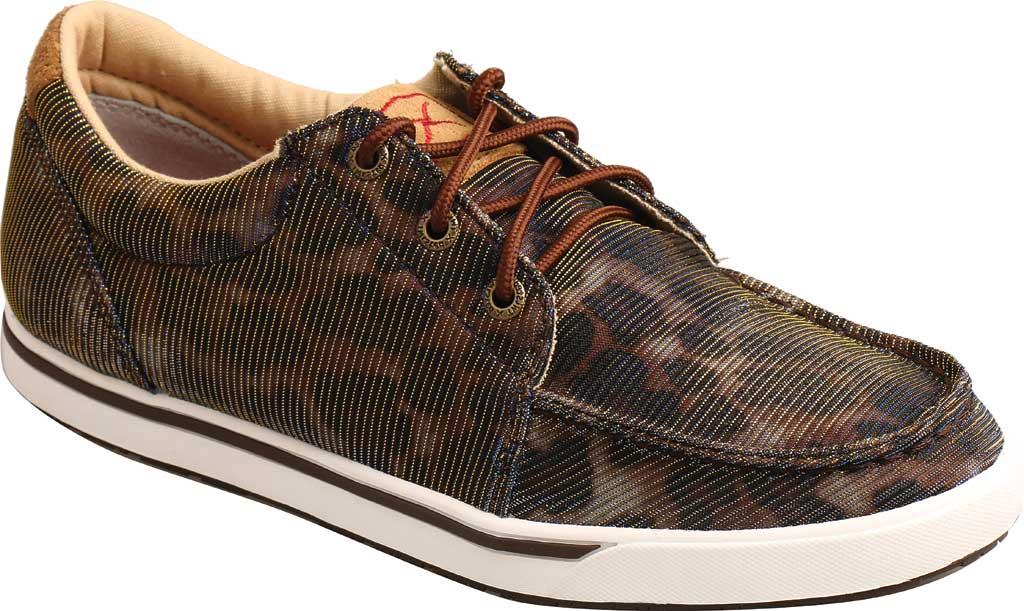 Women's Twisted X WCA0023 Low Cut Moc Toe Sneaker, Shiny Leopard/Brown Fabric, large, image 1