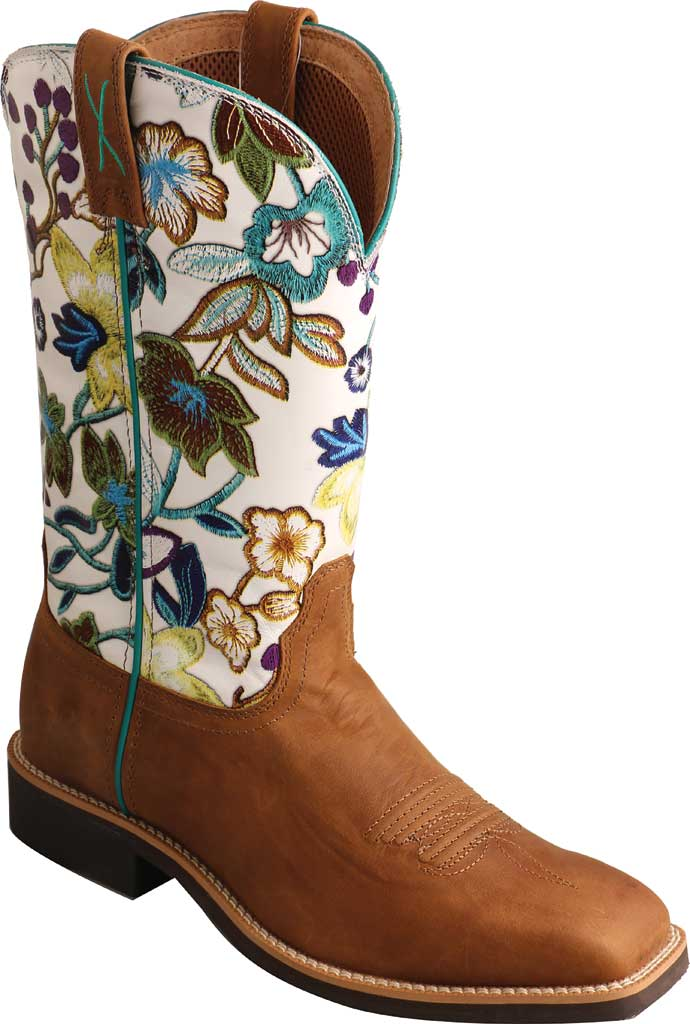 """Women's Twisted X WTH0017 11"""" Top Hand Cowgirl Boot, Tan/Floral Full Grain Leather, large, image 1"""