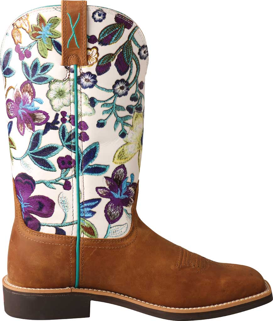 """Women's Twisted X WTH0017 11"""" Top Hand Cowgirl Boot, Tan/Floral Full Grain Leather, large, image 2"""