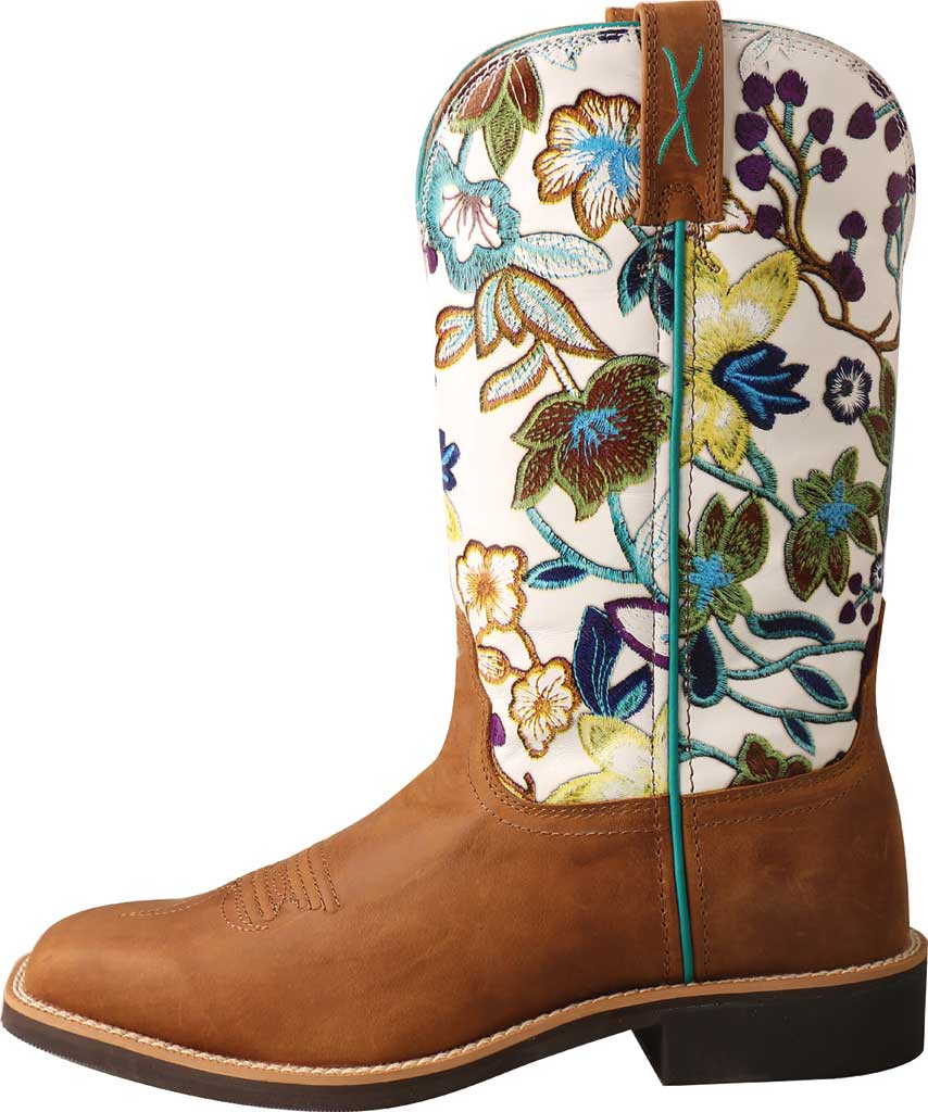 """Women's Twisted X WTH0017 11"""" Top Hand Cowgirl Boot, Tan/Floral Full Grain Leather, large, image 3"""