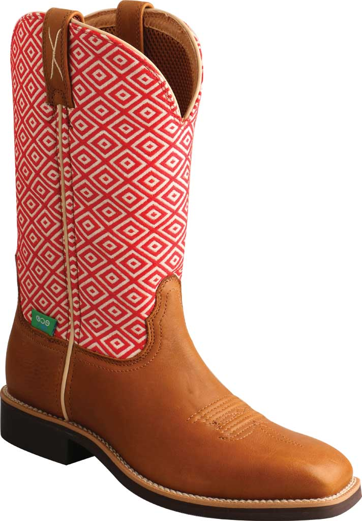 """Women's Twisted X WTH0018 11"""" Top Hand Cowgirl Boot, Camel/Eco Full Grain Leather/Eco Fabric, large, image 1"""