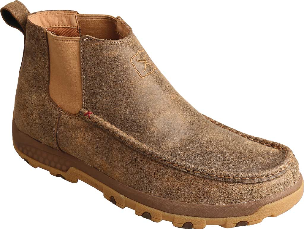 """Men's Twisted X MXCG001 4"""" Double Gore Driving Moc, Bomber Full Grain Leather, large, image 1"""