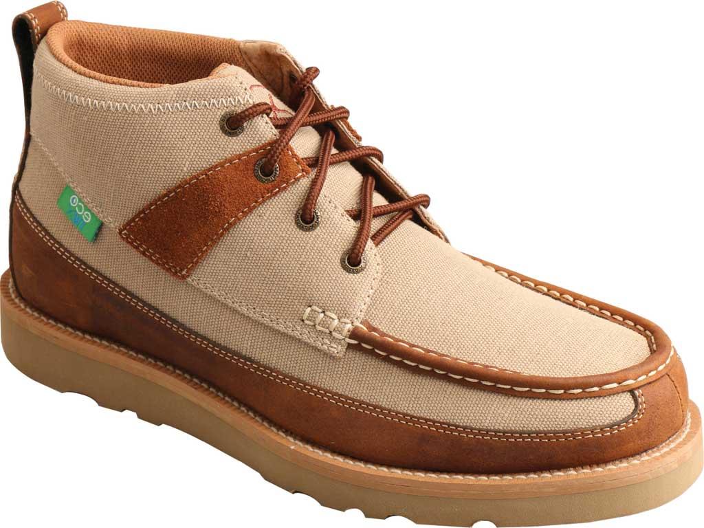 "Men's Twisted X MCA0031 4"" Moc Toe Boot, Khaki/Oiled Saddle Eco Fabric/Full Grain Leather, large, image 1"