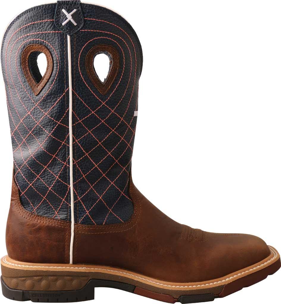 "Men's Twisted X MXBAW01 12"" Alloy Toe Western Waterproof Work Boot, Mocha/Navy Full Grain Leather, large, image 2"