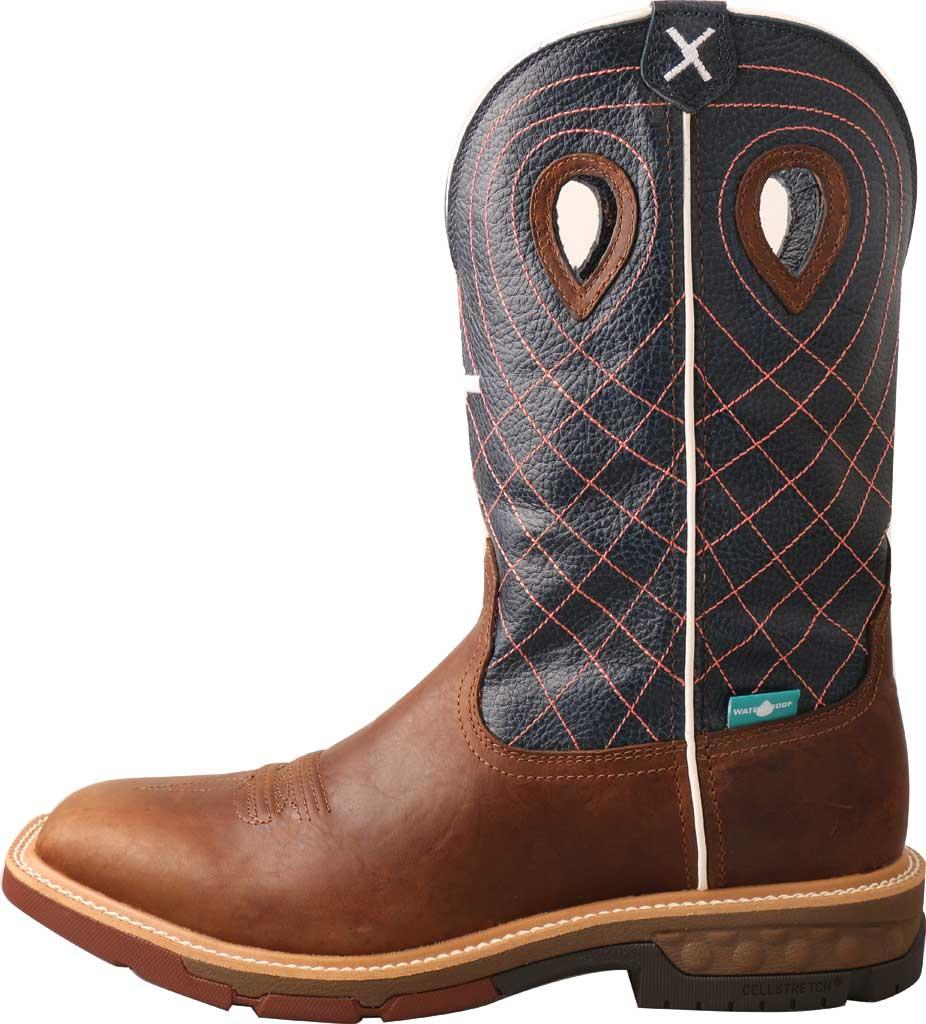 "Men's Twisted X MXBAW01 12"" Alloy Toe Western Waterproof Work Boot, Mocha/Navy Full Grain Leather, large, image 3"
