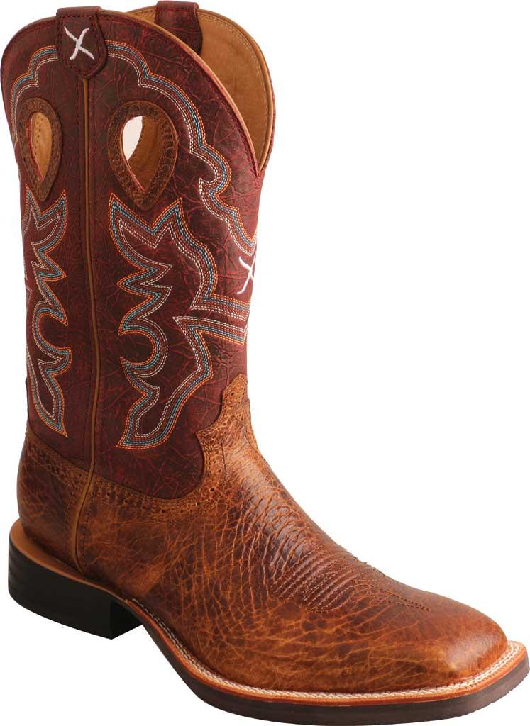 "Men's Twisted X MRS0065 12"" Ruff Stock Cowboy Boot, Peanut/Burgundy Full Grain Leather, large, image 1"