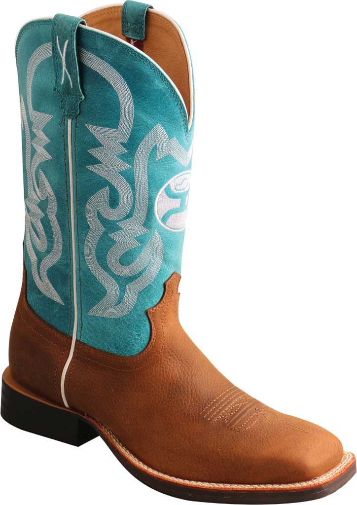 """Men's Twisted X MHY0032 12"""" Hooey Cowboy Boot, Gingerbread/Turquoise Full Grain Leather, large, image 1"""
