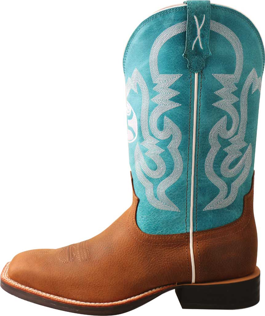"""Men's Twisted X MHY0032 12"""" Hooey Cowboy Boot, Gingerbread/Turquoise Full Grain Leather, large, image 3"""