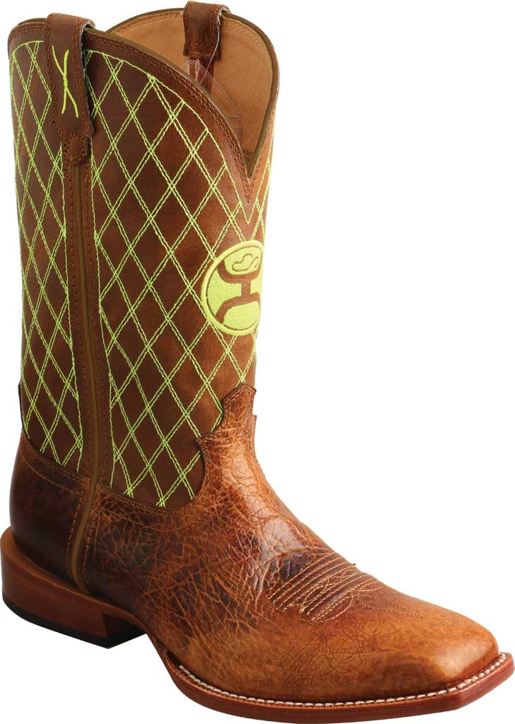 """Men's Twisted X MHY0031 12"""" Hooey Cowboy Boot, Peanut/Neon Green Full Grain Leather, large, image 1"""