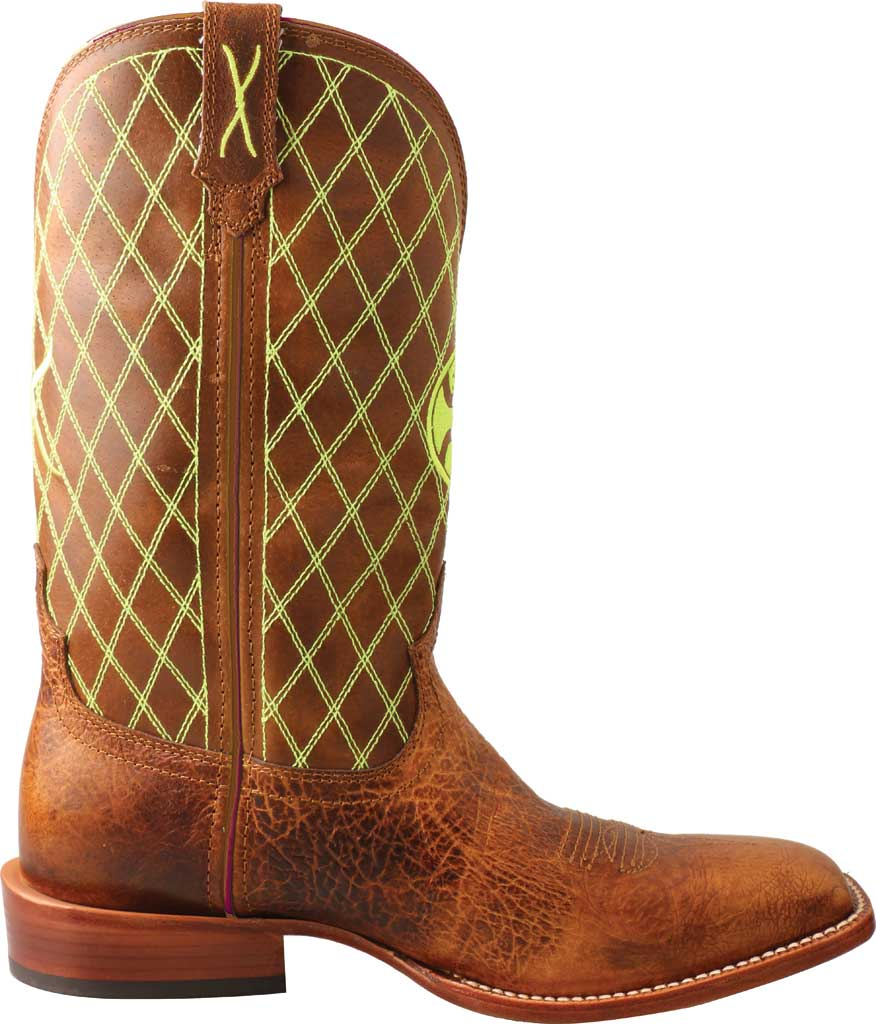 """Men's Twisted X MHY0031 12"""" Hooey Cowboy Boot, Peanut/Neon Green Full Grain Leather, large, image 2"""