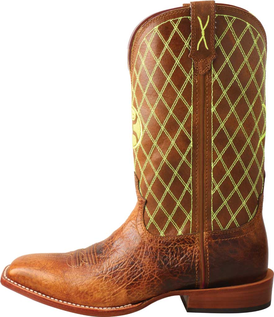 """Men's Twisted X MHY0031 12"""" Hooey Cowboy Boot, Peanut/Neon Green Full Grain Leather, large, image 3"""