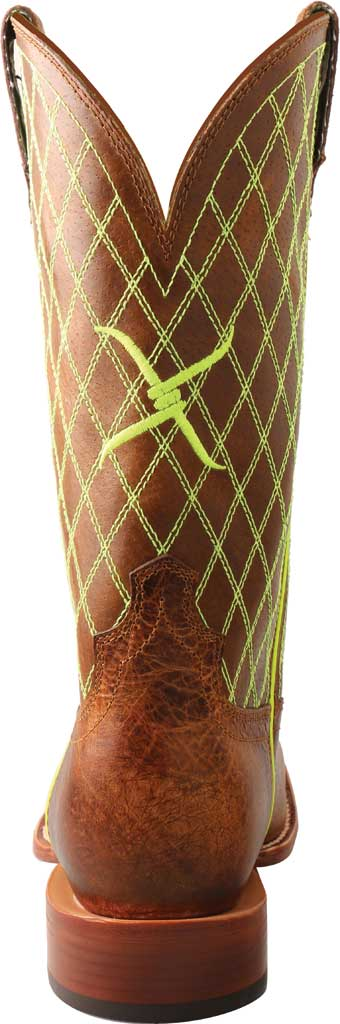 """Men's Twisted X MHY0031 12"""" Hooey Cowboy Boot, Peanut/Neon Green Full Grain Leather, large, image 4"""