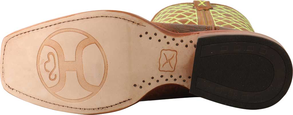 """Men's Twisted X MHY0031 12"""" Hooey Cowboy Boot, Peanut/Neon Green Full Grain Leather, large, image 5"""