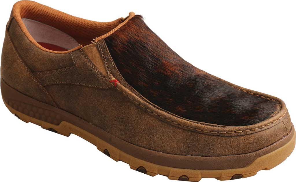 Men's Twisted X MXC0009 Slip On Driving Moc, Bomber/Brindle Full Grain Leather, large, image 1