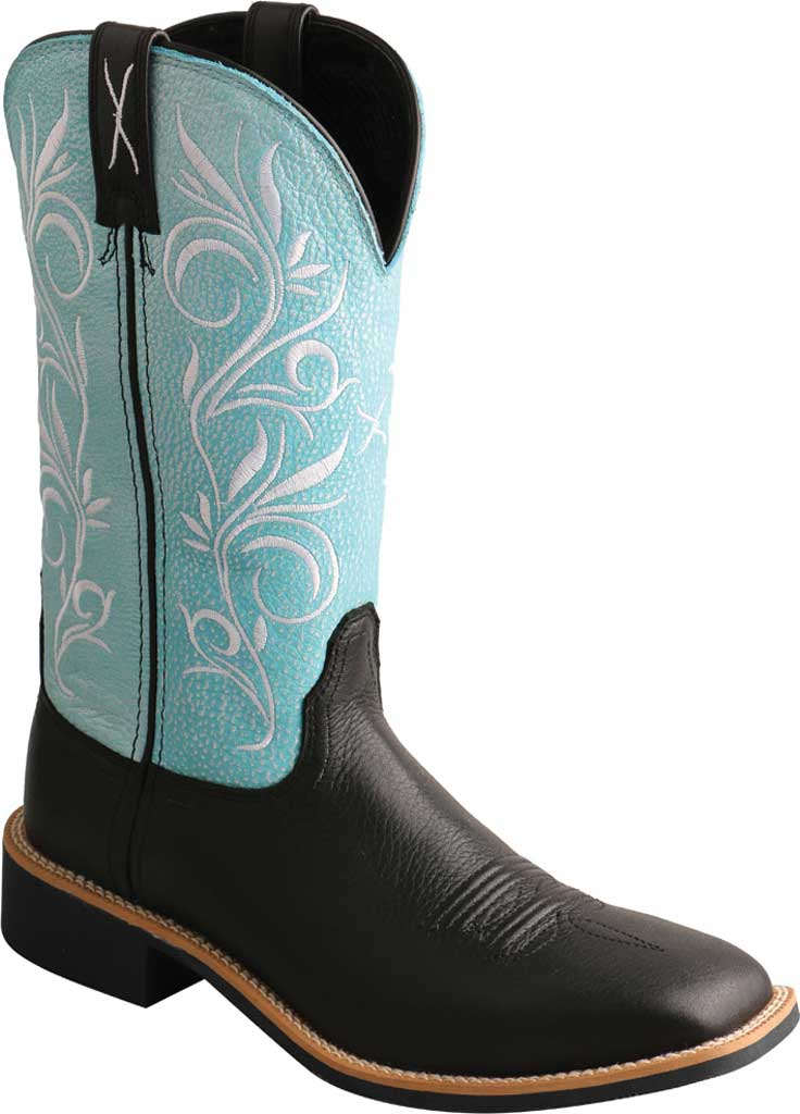 """Women's Twisted X WTH0019 11"""" Top Hand Cowgirl Boot, Black/Baby Blue Full Grain Leather, large, image 1"""