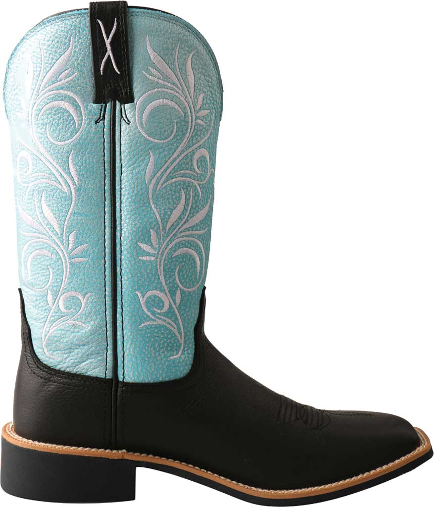 """Women's Twisted X WTH0019 11"""" Top Hand Cowgirl Boot, Black/Baby Blue Full Grain Leather, large, image 2"""