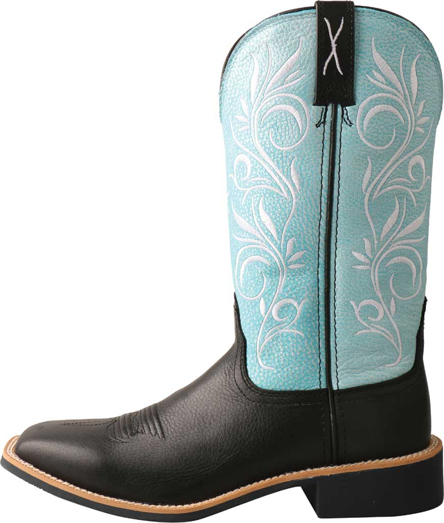 """Women's Twisted X WTH0019 11"""" Top Hand Cowgirl Boot, Black/Baby Blue Full Grain Leather, large, image 3"""