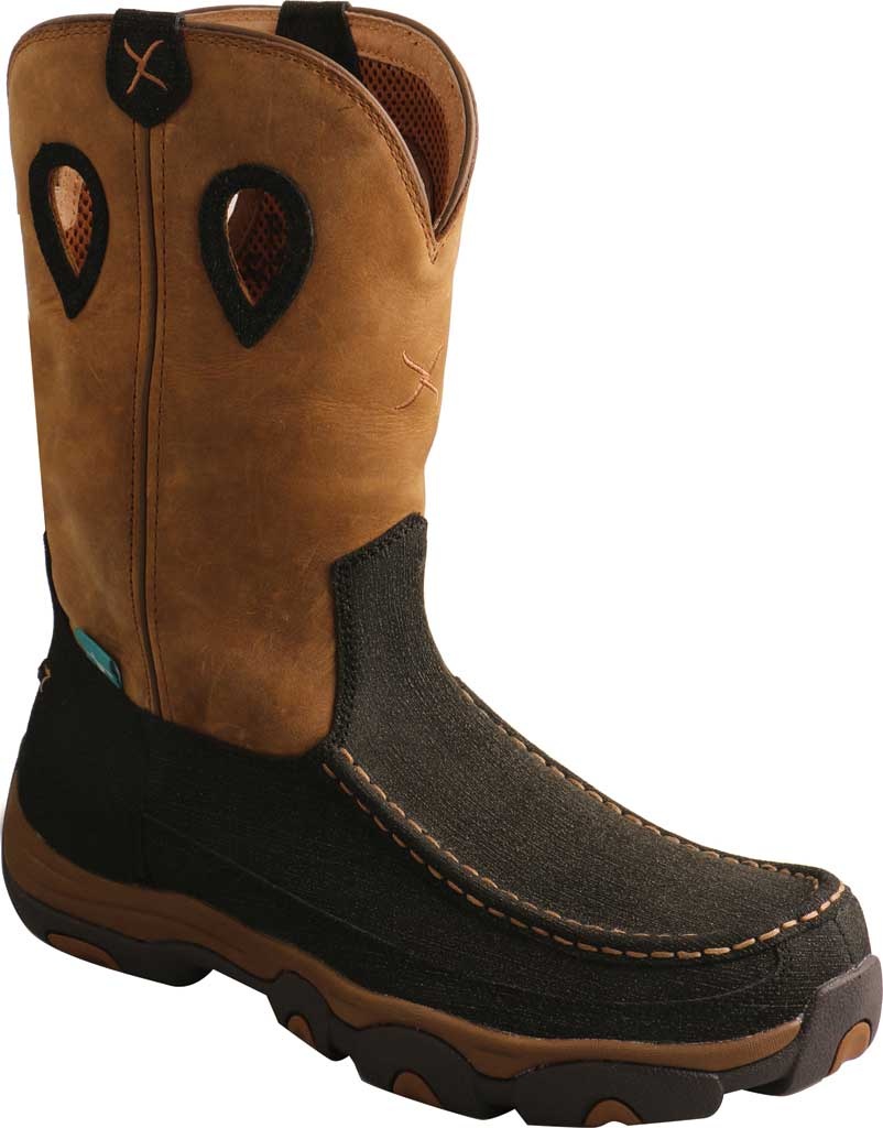 """Men's Twisted X MHKBW03 11"""" Pull On Wellington Boot, Charcoal/Tan Hybrid Performance/Full Grain Leather, large, image 1"""