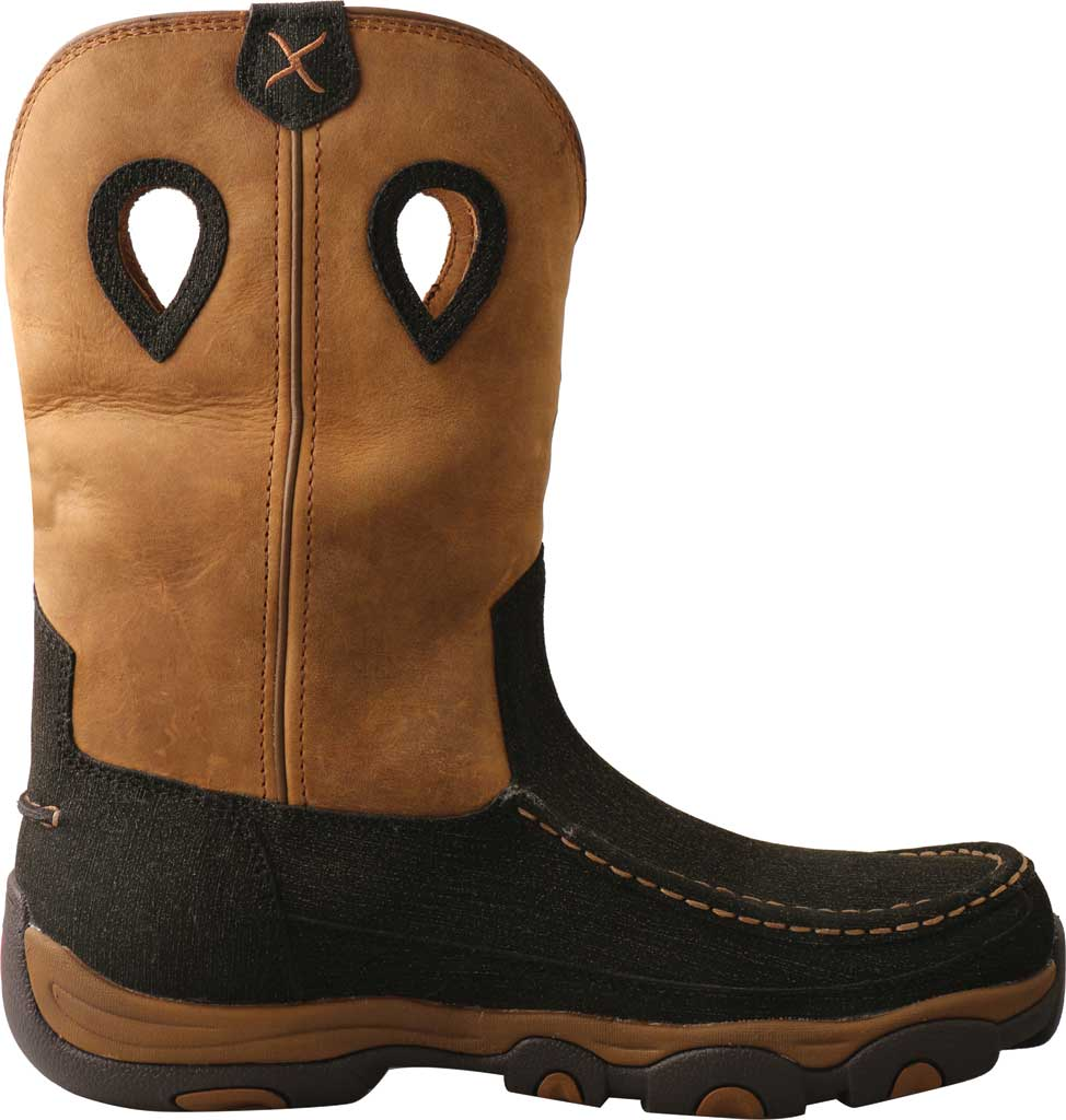 """Men's Twisted X MHKBW03 11"""" Pull On Wellington Boot, Charcoal/Tan Hybrid Performance/Full Grain Leather, large, image 2"""