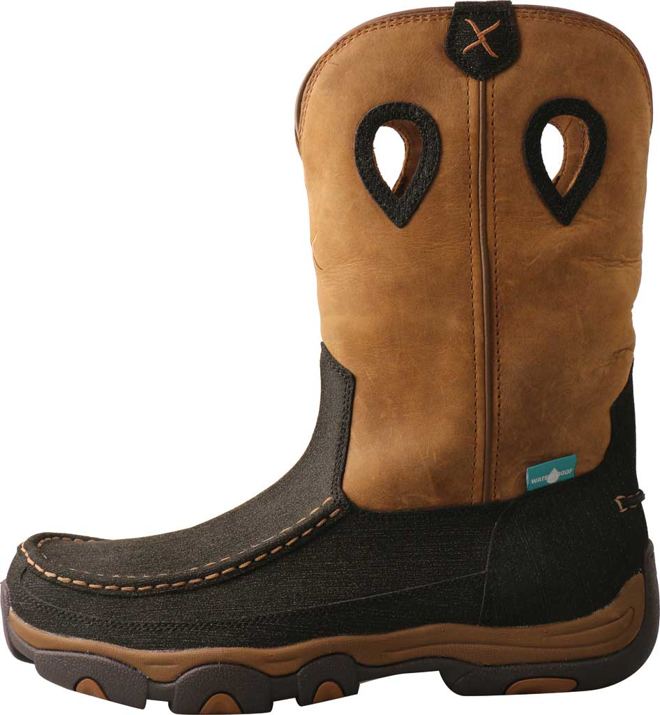 """Men's Twisted X MHKBW03 11"""" Pull On Wellington Boot, Charcoal/Tan Hybrid Performance/Full Grain Leather, large, image 3"""