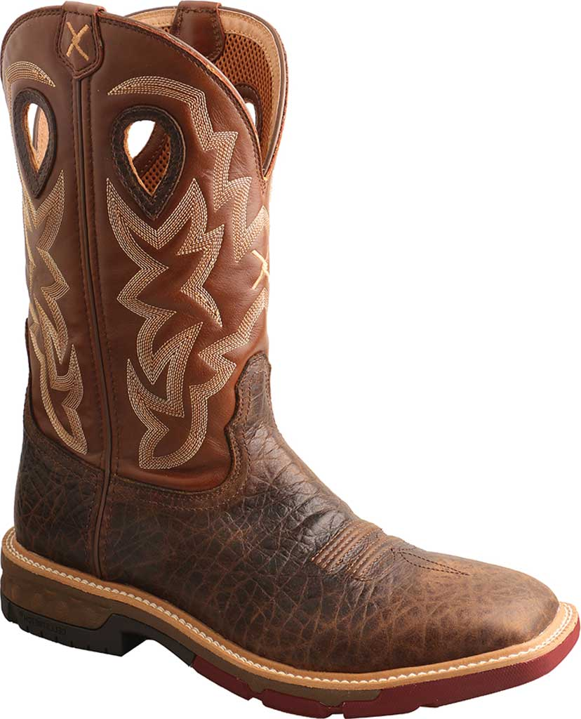 """Men's Twisted X MXBW002 12"""" Waterproof Western Work Boot, Smokey Chocolate/Spice Full Grain Leather, large, image 1"""