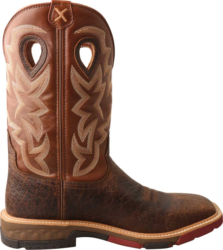"""Men's Twisted X MXBW002 12"""" Waterproof Western Work Boot, Smokey Chocolate/Spice Full Grain Leather, large, image 2"""