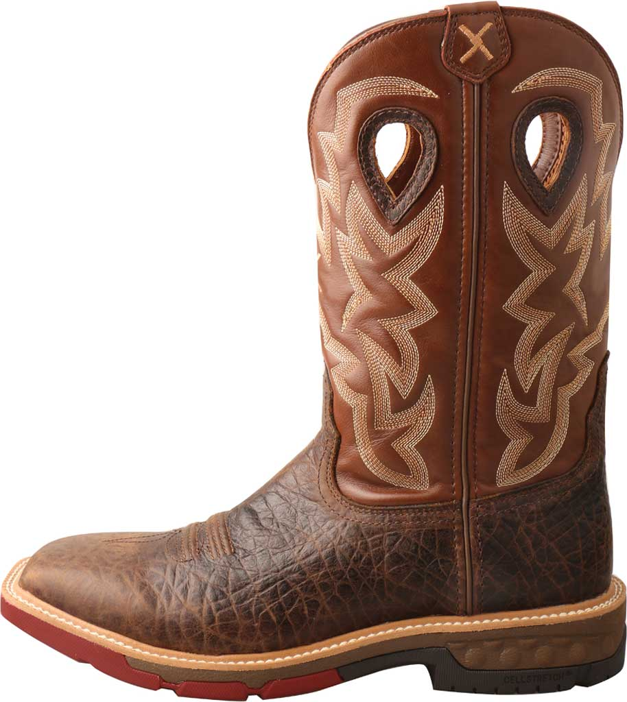 """Men's Twisted X MXBW002 12"""" Waterproof Western Work Boot, Smokey Chocolate/Spice Full Grain Leather, large, image 3"""