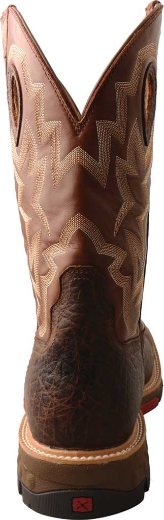 """Men's Twisted X MXBW002 12"""" Waterproof Western Work Boot, Smokey Chocolate/Spice Full Grain Leather, large, image 4"""