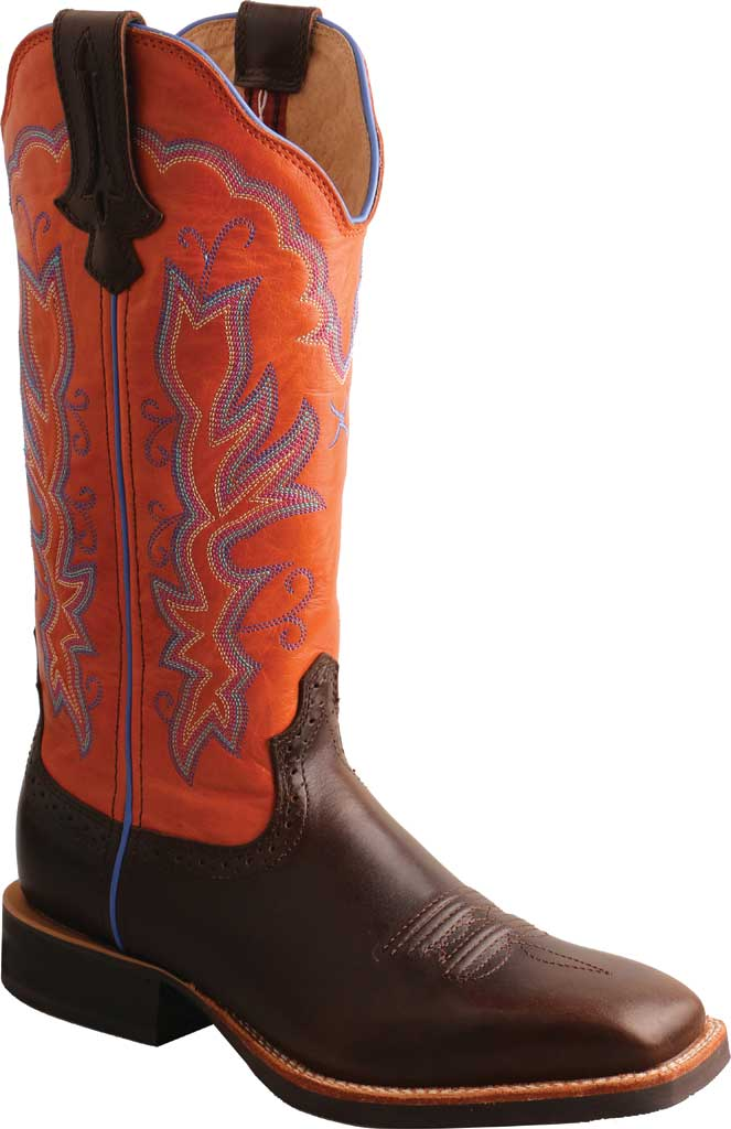 """Women's Twisted X WRS0033 13"""" Ruff Stock Cowgirl Boot, Dark Chocolate/Carrot Full Grain Leather, large, image 1"""
