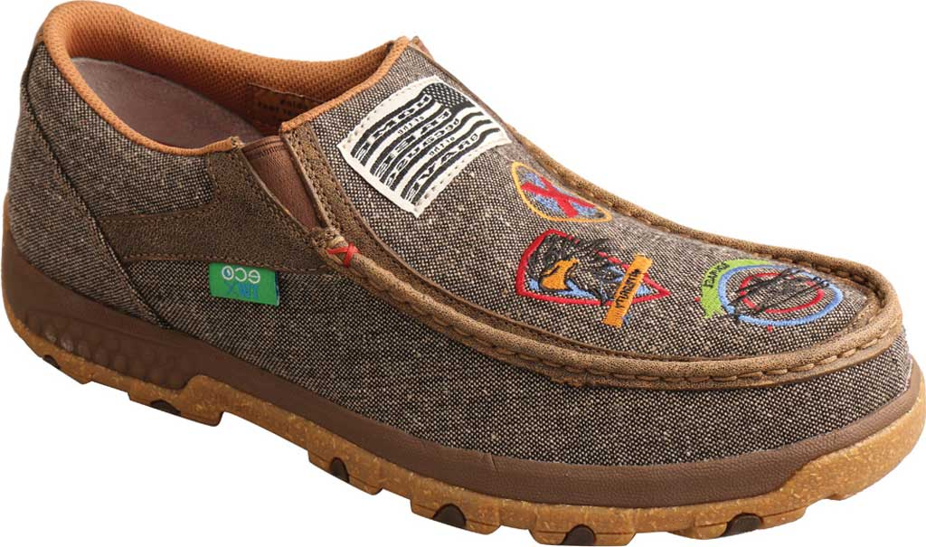 Men's Twisted X MXC0010 Slip On Driving Moc, Dust Eco Tweed/Full Grain Leather, large, image 1
