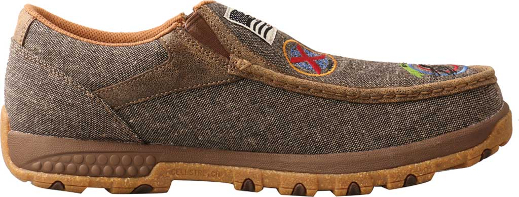 Men's Twisted X MXC0010 Slip On Driving Moc, Dust Eco Tweed/Full Grain Leather, large, image 2