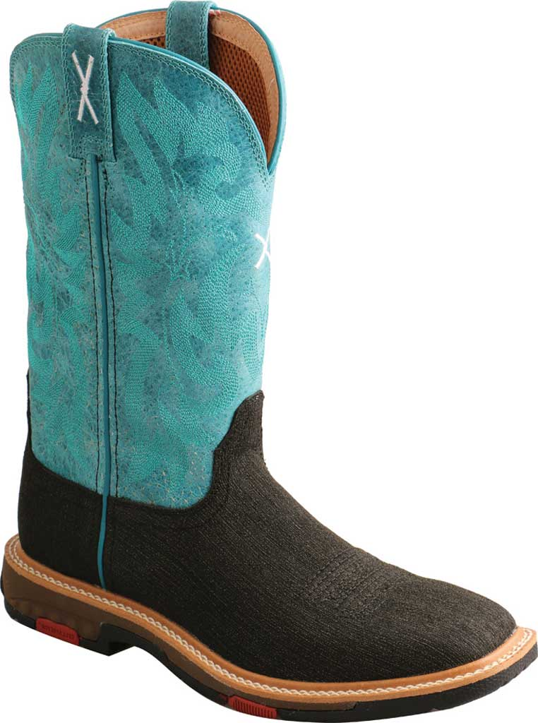 """Women's Twisted X WXBA001 11"""" Lite Western Alloy Toe Work Boot, Charcoal/Turquoise Hybrid/Full Grain Leather, large, image 1"""