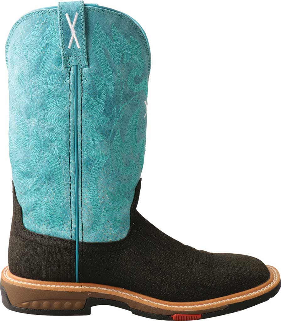 """Women's Twisted X WXBA001 11"""" Lite Western Alloy Toe Work Boot, Charcoal/Turquoise Hybrid/Full Grain Leather, large, image 2"""