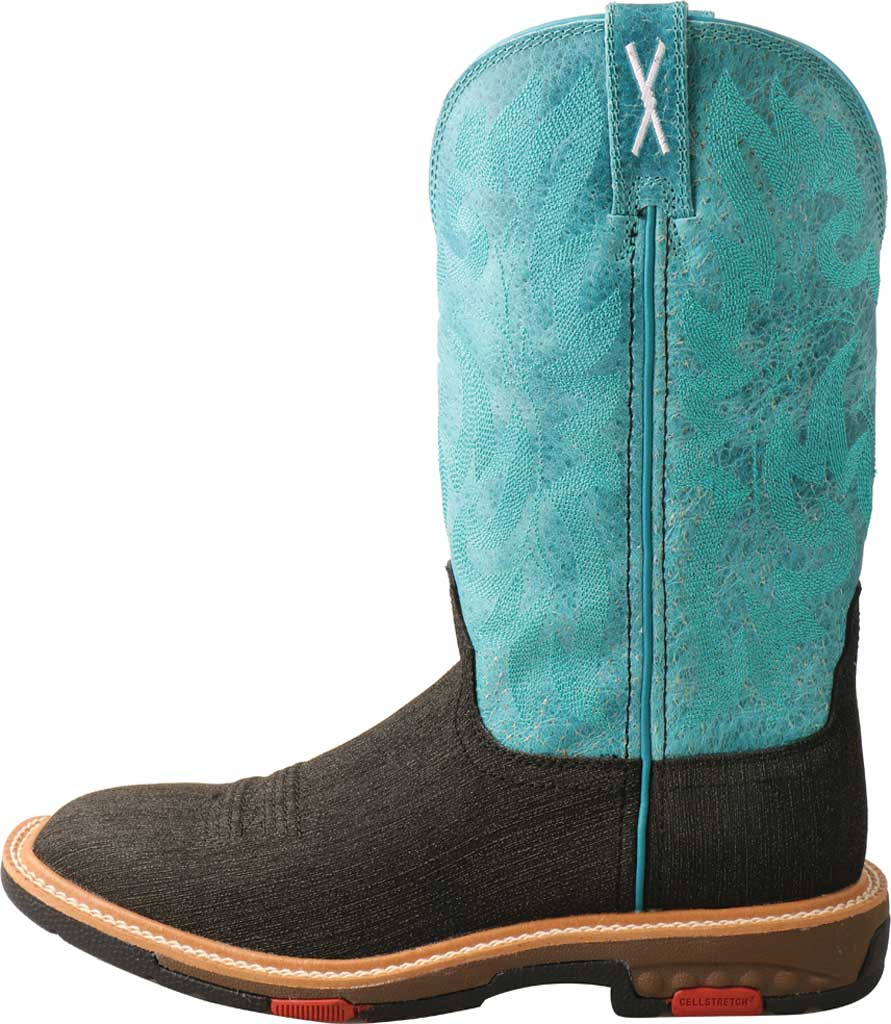 """Women's Twisted X WXBA001 11"""" Lite Western Alloy Toe Work Boot, Charcoal/Turquoise Hybrid/Full Grain Leather, large, image 3"""