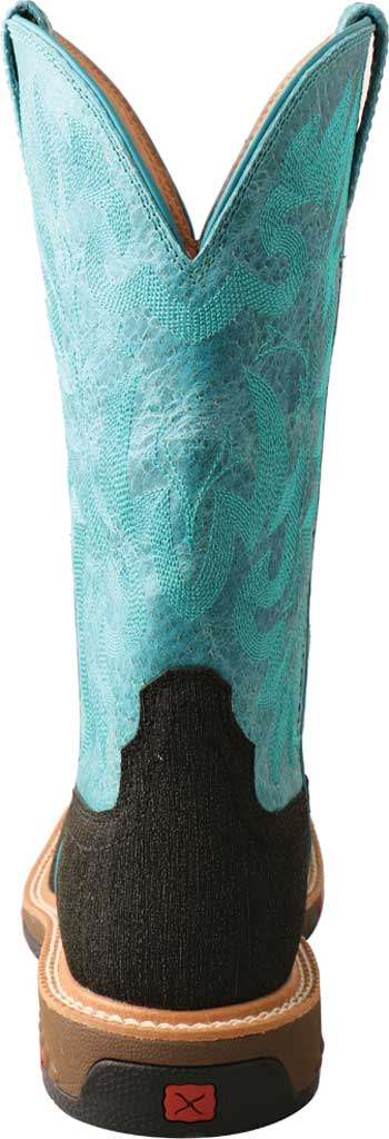 """Women's Twisted X WXBA001 11"""" Lite Western Alloy Toe Work Boot, Charcoal/Turquoise Hybrid/Full Grain Leather, large, image 4"""