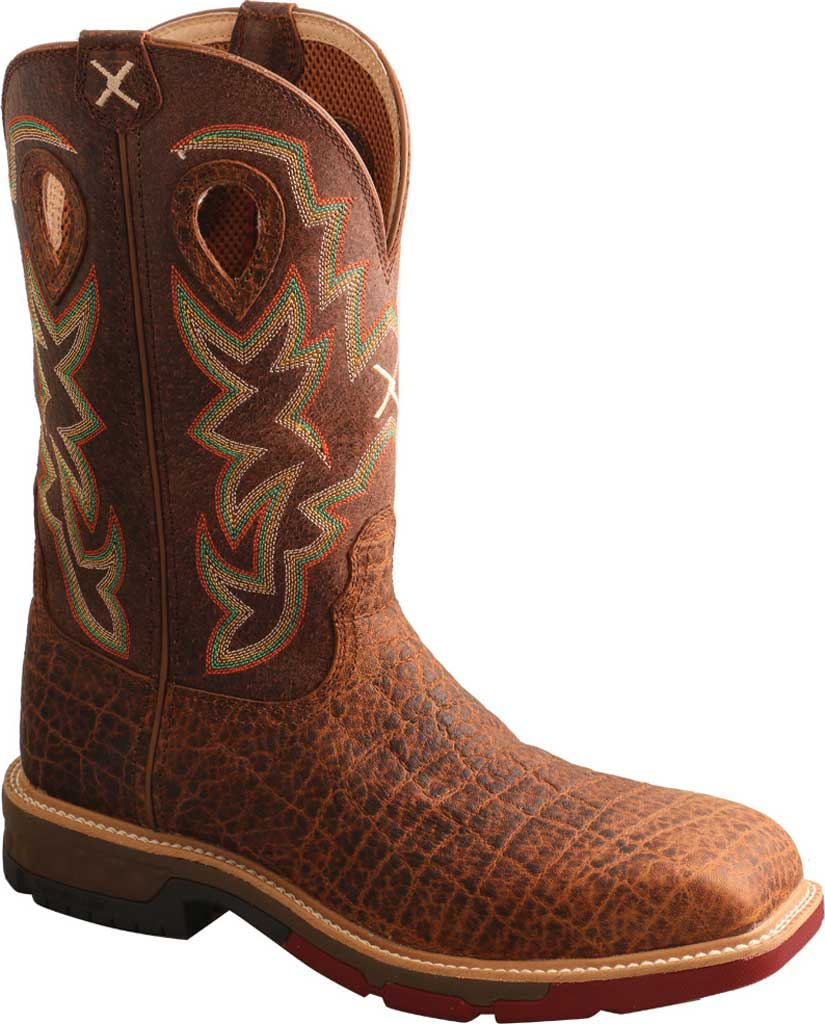 "Men's Twisted X MXB0004 12"" Western Work Boot, Tan/Tan Full Grain Leather, large, image 1"