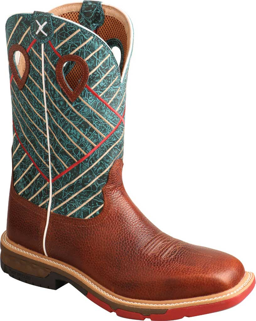 "Men's Twisted X MXBA004 12"" Alloy Toe Western Work Boot, Cognac/Dark Green Full Grain Leather, large, image 1"
