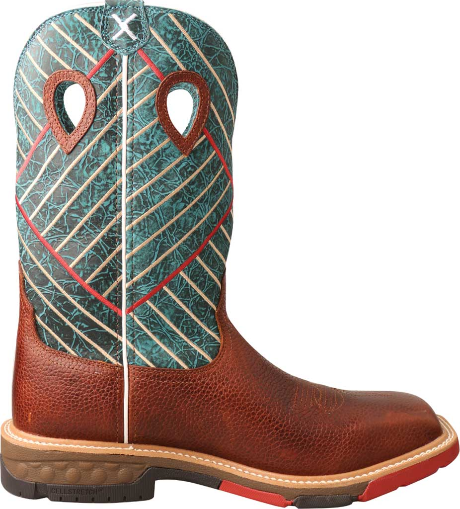 "Men's Twisted X MXBA004 12"" Alloy Toe Western Work Boot, Cognac/Dark Green Full Grain Leather, large, image 2"