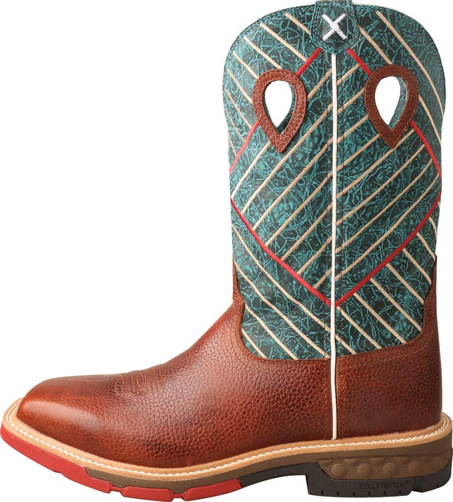 "Men's Twisted X MXBA004 12"" Alloy Toe Western Work Boot, Cognac/Dark Green Full Grain Leather, large, image 3"