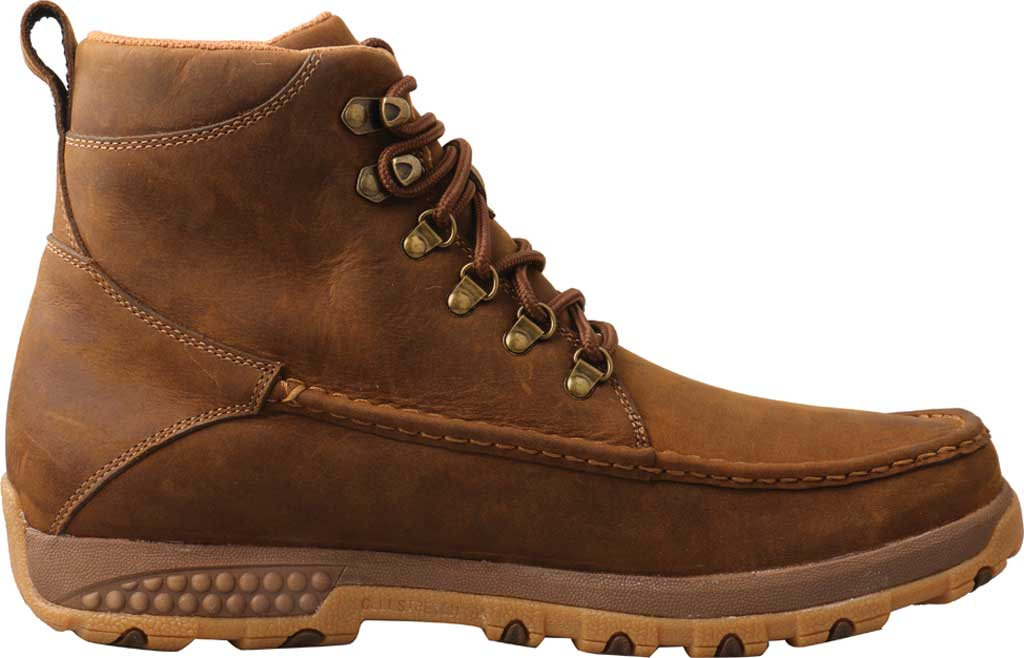 "Men's Twisted X MXC0011 6"" Moc Toe Boot, Distressed Saddle Full Grain Leather, large, image 2"